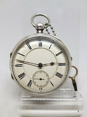 Huge 57mm antique solid silver gents Chester pocket watch 1904 working ref432