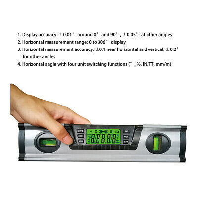 Digital Angle Finder Level 360 Degree Spirit Level with Magnets Protractor 291mm
