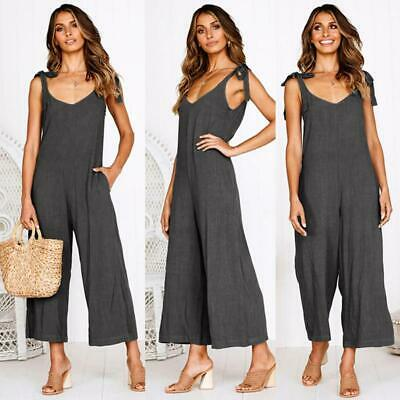 Women Sleeveless Loose Wide Leg Jumpsuit Overall Long Trousers Pant 6L