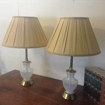 Vintage Silvery White Metal Table Lamp pl2143 Free Delivery