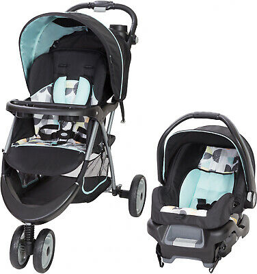 Baby Trend Stroller Travel System Canopy Cup Holders Infant Car Seat Doodle Dots