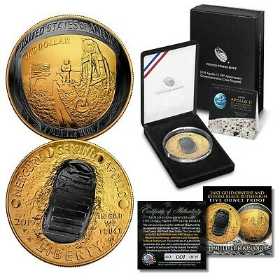 Apollo 11 Space 2019 Curved 5 OZ Proof Silver Dollar BLACK RUTHENIUM / 24K GOLD