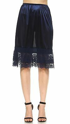 6aeeb202ef0a Shop Lev Long Double Lace Satin Underskirt Skirt Extender Half Slip Navy