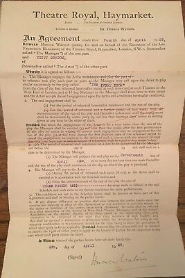 The Theatre Royal,Haymarket Contract Kitty Gordon 1929 Signed By H.watson ,Man'r
