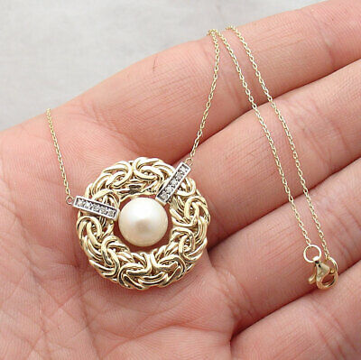 Natural Diamond Pearl Love Byzantine Pendant Cable Chain Real 14K Yellow Gold