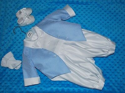 Baby Boy Christening Baptism Outfit Romper Suit & Shoes & Socks 0-3 Months