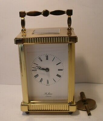 8 Day St James London Brass Carriage Clock Good Working Order (With Key)