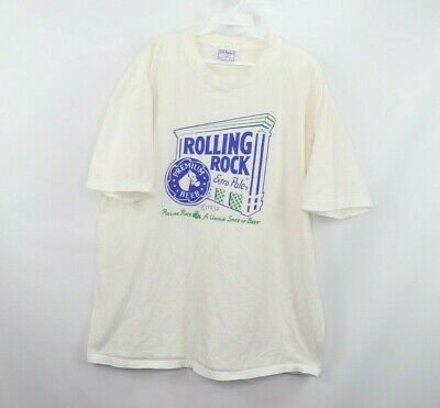 45d4797d Vtg 90s Rolling Rock Extra Pale Ale Beer Mens XL Spell Out Short Sleeve  Shirt