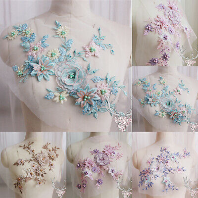 3D Flower Lace Embroidery Bridal Beaded DIY Pearl Applique Tulle Wedding Dress