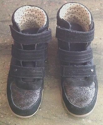 Girls' Black Sparkly Glitter Hightops From Next, Size UK 7 - EUC