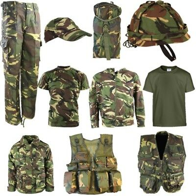 Childrens Army Soldier T-Shirt Trousers Vest Helmet Cap Coat Bag Boys Dpm Camo