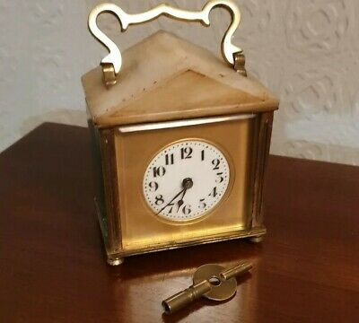 Vintage Brass Carriage Clock With marble top 👀 and keyWorking condition
