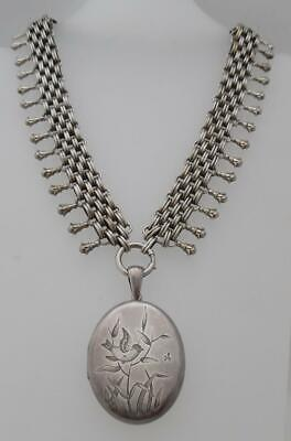 Antique Victorian 1880s STERLING SILVER Etruscan Engraved Locket & Collar (SP6