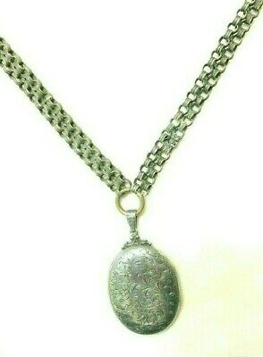 Antique Sterling Silver Book Chain With A Sterling Silver Antique Locket Pendant