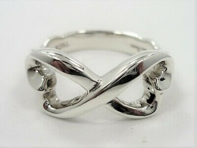 1d6a2e248b33a TIFFANY & CO Silver Paloma Picasso Infinity Double Loving Heart Ring size 6