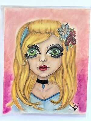 Outsider Art Blond Girl Large Green Eyes Cinderella Colored Pencil Drawing