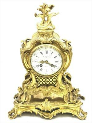 Antique Mantle Clock Lovely French 1900's Embossed 8 day Gilt Rococo Bronze