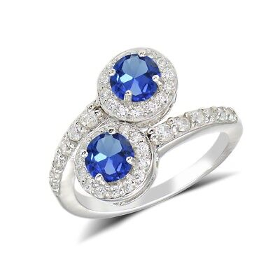 Simulated Blue Sapphire and Cubic Zirconia Round-cut Halo Friendship Ring