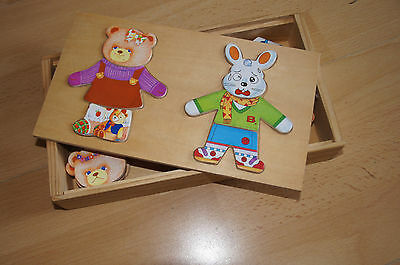 Setzpuzzle Holz Teddy Puzzle Setzpuzzle 36 Teile in Holzbox  TOP ZUSTAND