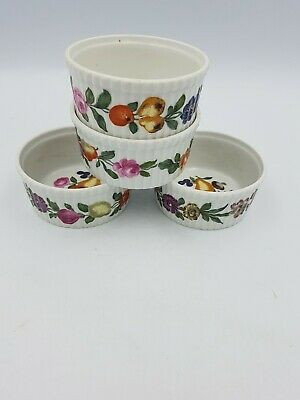 French Porcelaine de Paris Decor Ramekins Souffle Dishes Fruits Ribbed -Set Of 4