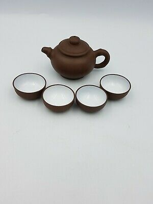 Chinese Yixing Pottery Small Clay Teapot Bamboo Handle 4 Tea Cups 5Pc Bxd Set