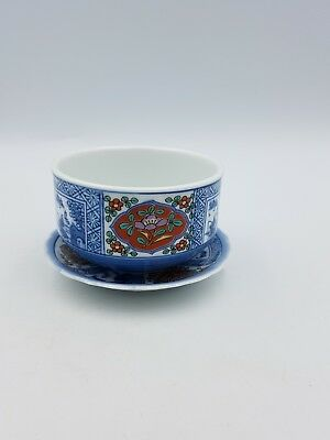 Japanese Porcelain Footed Bowl With Underplate Rust Red Blue Floral Scenic Motif