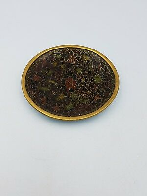 Chinese Cloisonne Enamel Small Shallow Dish Plate Brown Gold Floral Motif
