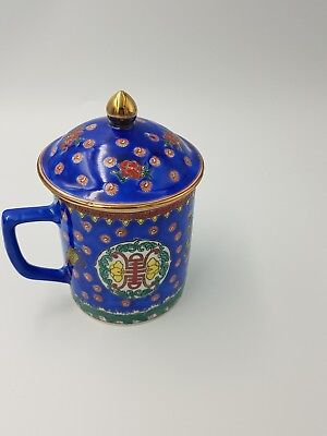 Vintage Chinese Porcelain Lidded Cup Mug Cobalt Blue Hand Painted Dragon Floral