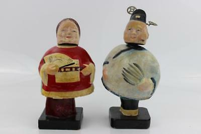 Chinese Yearly 1900's Pair Paper Mache Bobble-Head Figures 22cm High