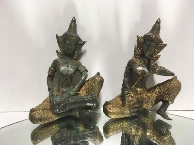 A Pair Of Siamese Or Thai Ladies  Brass / Bronze Statues Musicians