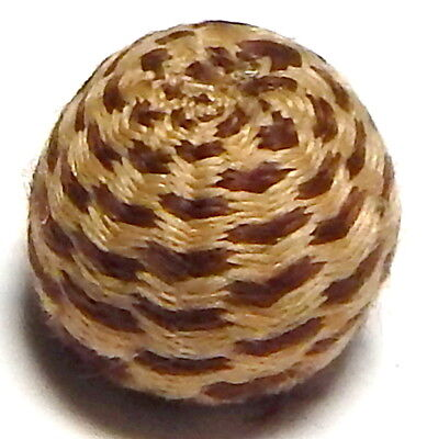 RARE ANTIQUE 19th CENTURY FRENCH COCOA BROWN & CAMEL WOVEN PASSEMENTARIE BUTTON