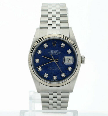 2001 Rolex Datejust watch #16234 steel 18K white gold sodalite diamond dial 36MM