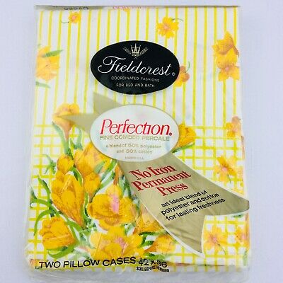 Vtg Fieldcrest Perfection Pillowcases Set of 2 Yellow Flowers Percale Standard