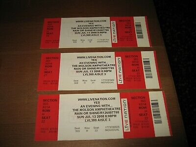 YES Concert Tickets-Unused- Toronto, 2008 (Lot of 3)