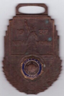 US American Legion Pin Medal Vintage 1937 New York City Convention