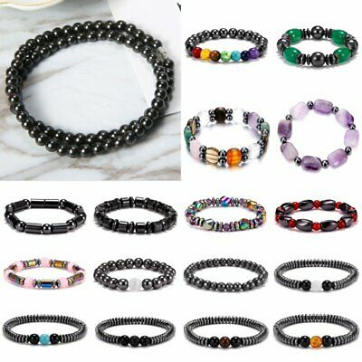 Hematite Weight Loss Beaded Stretch Men Women Anti-Fatigue Magnetic Bracelet Hot