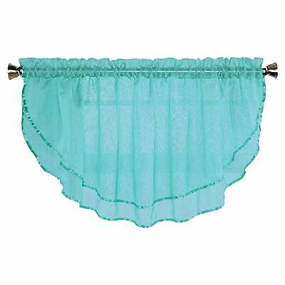 Turquoise Sheer Voile Valance WIndow Curtain 54in X 24in Scalloped Ribbon  Edge