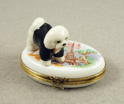 New French Limoges Trinket Box Bichon Frise Dog Puppy In Paris At Eiffel Tower