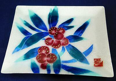 Fabulous Ando Cloisonne Square Plate with Green/Blue Leaves and Red Berries Sign