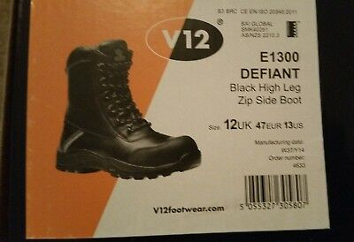 daec0ac4f03 V12 VTECH E1300 Defiant Work Boots Leather Composite Toe Cap Side Zip Size  12
