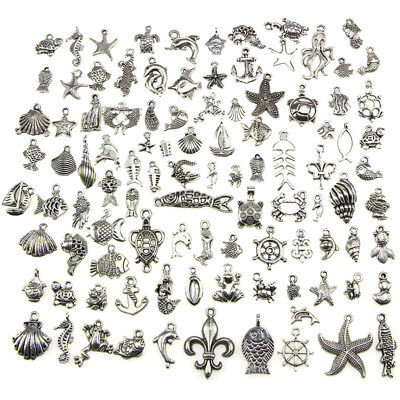 Retro Silver 100pcs Bulk Lots Mix Ocean Charm Pendants Jewelry DIY Hot AU- TOP