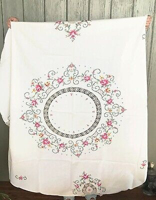 Vintage Shabby Chic Style Cross Stitch Embroidered Tablecloth