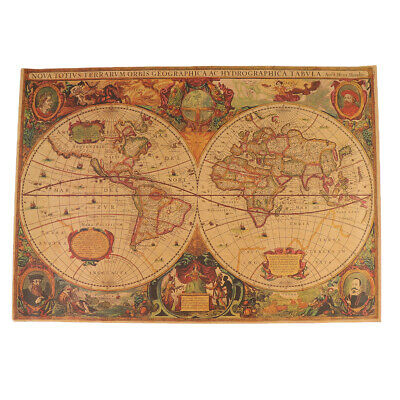 Retro World Map Kraft Paper Poster Nautical Ocean Map Wall Chart