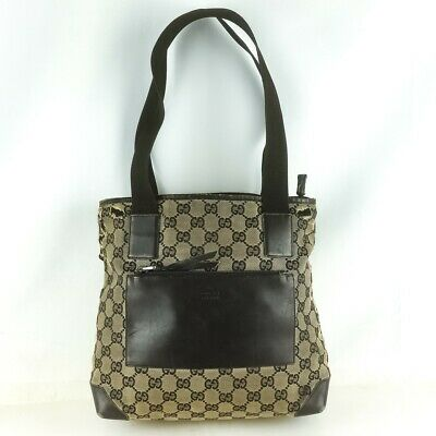 11be81fdb83 GUCCI BLACK MONOGRAM GG Web Canvas Leather Front Pocket Tote ...