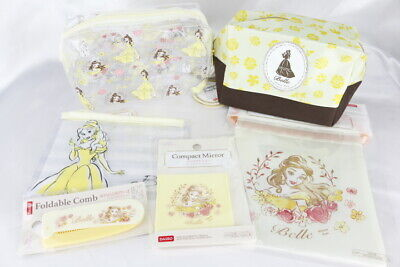 Disney Beauty and the Beast Belle Cosmetics 6set Pouch mirror comb DAISO japan