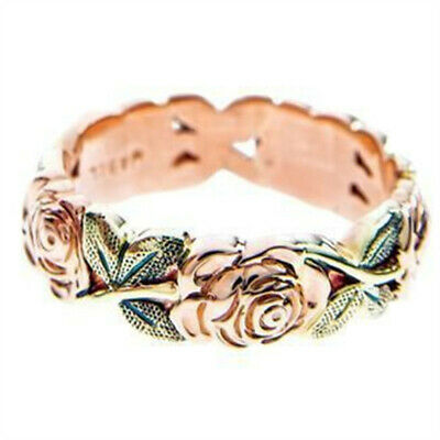 Exquisite Rose Gold Rose Floral Ring Green Leaf Flower Wedding Jewelry Size 6-10