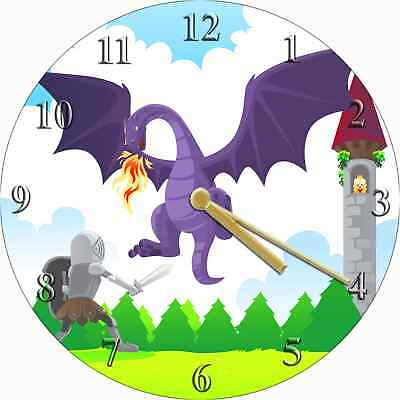 NOVELTY WALL CLOCK - Brave Knight and Dragon Design - Childrens Wall Clock