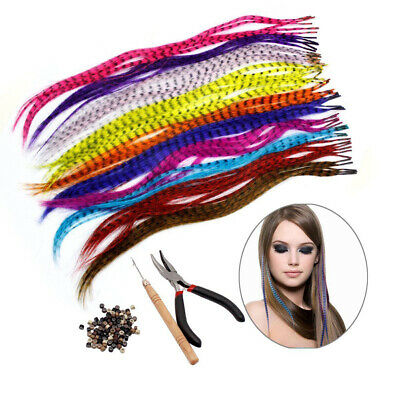35 Synthetic Feather Hair Extension Sets Feathers+1 Plier+100 Beads+ Hook Gifts