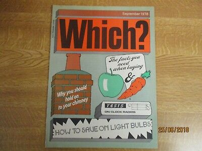 September 1978, WHICH MAGAZINE, Clock Radios, Light Bulbs, Fruit and Vegetables.
