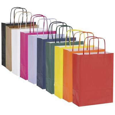 10 x Twisted Handle Kraft Paper Gift / Party Bags 18x8x24cm - 15 Colour Options